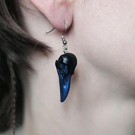 Kolczyki Mini Kruk czarny z niebieskim